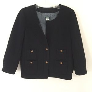 J. CREW Black Wool Jacket with Gold Buttons 4